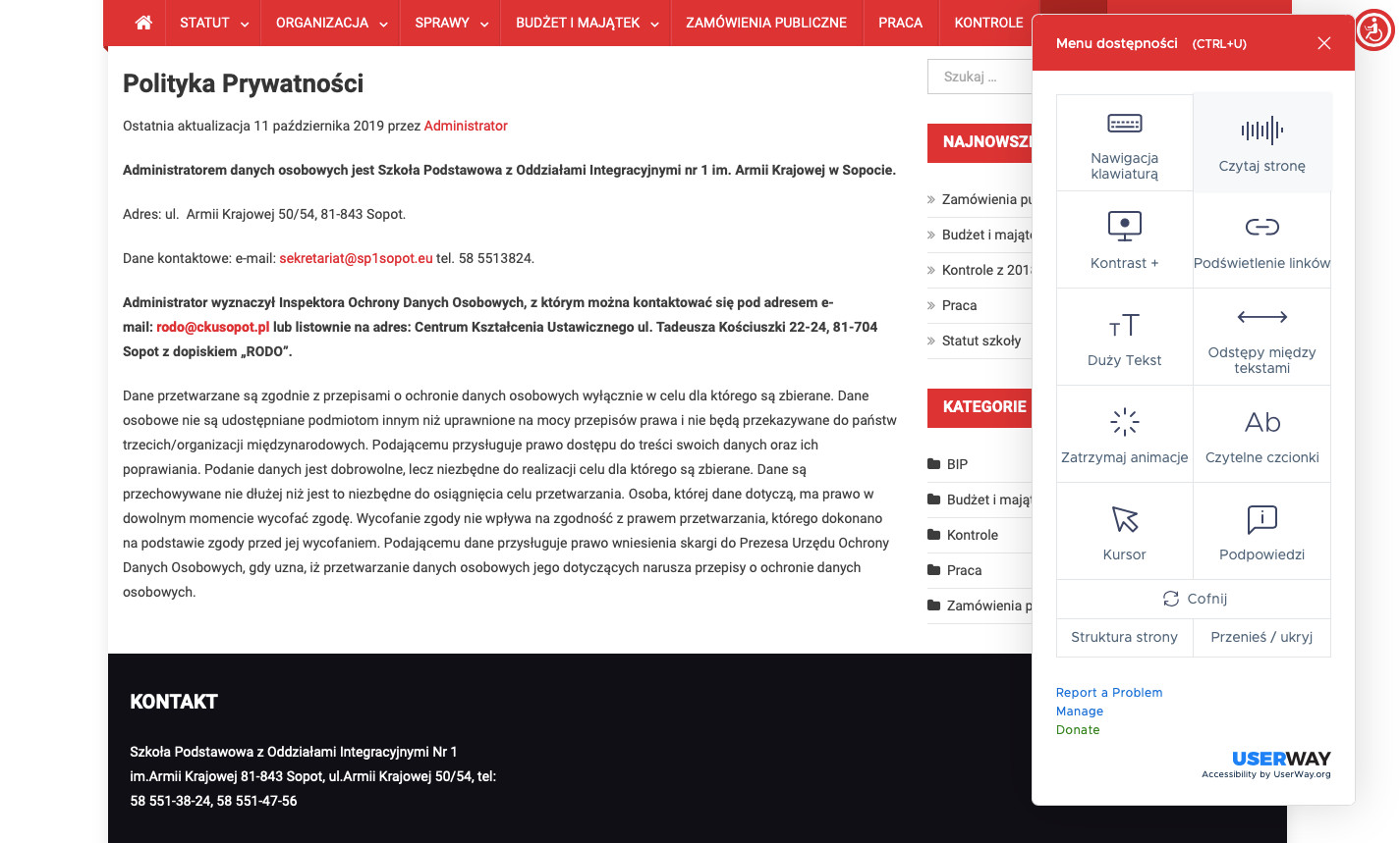 Strona www BIP SP1 Sopot